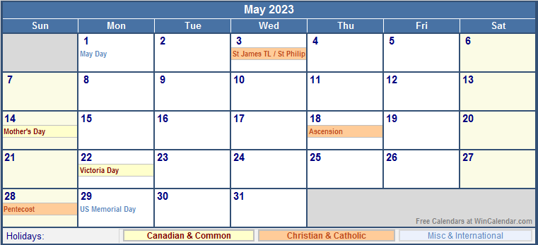 May 2023 Canada Calendar With Holidays For Printing image