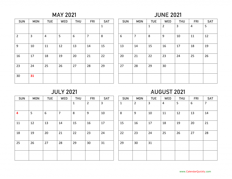 May To August 2021 Calendar Calendar Quickly