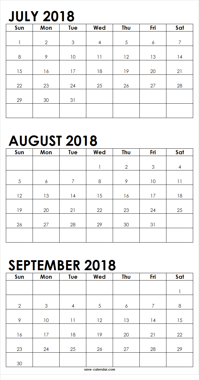 Print July August September 2018 Calendar With Notes