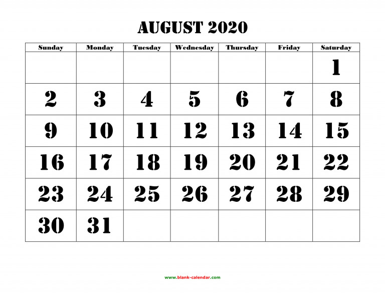 August 2020 Printable Calendar Free Download Monthly