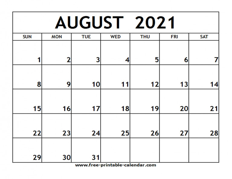 Calendar 2021 Printable August United States Map