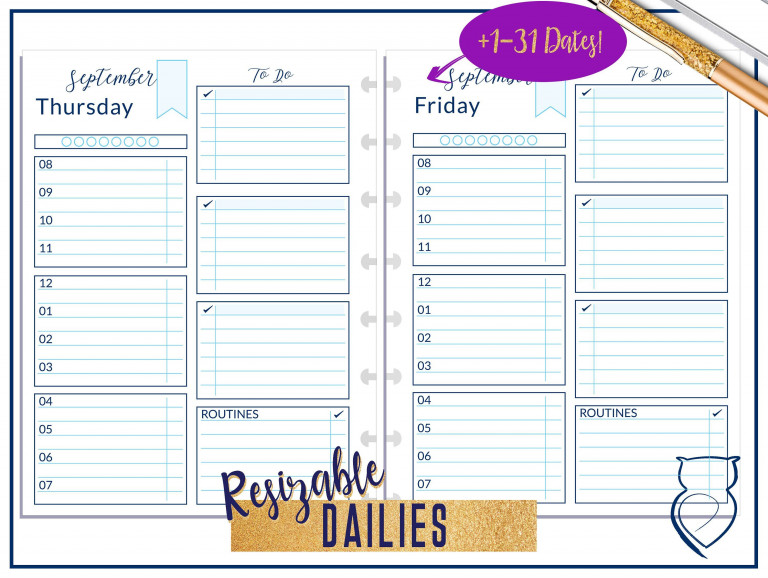 September 1DO1P MAE 12 Hour Daily Planner Pages Digital