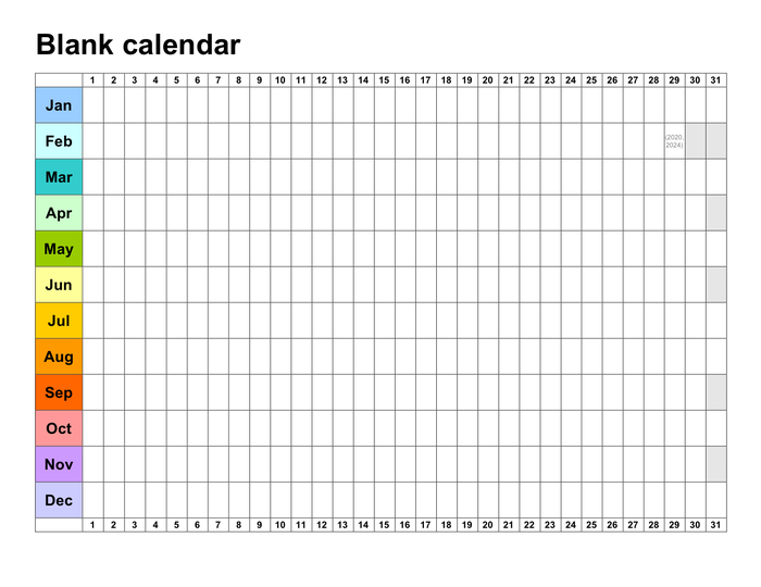 Blank Calendar Template In Word And Pdf Formats