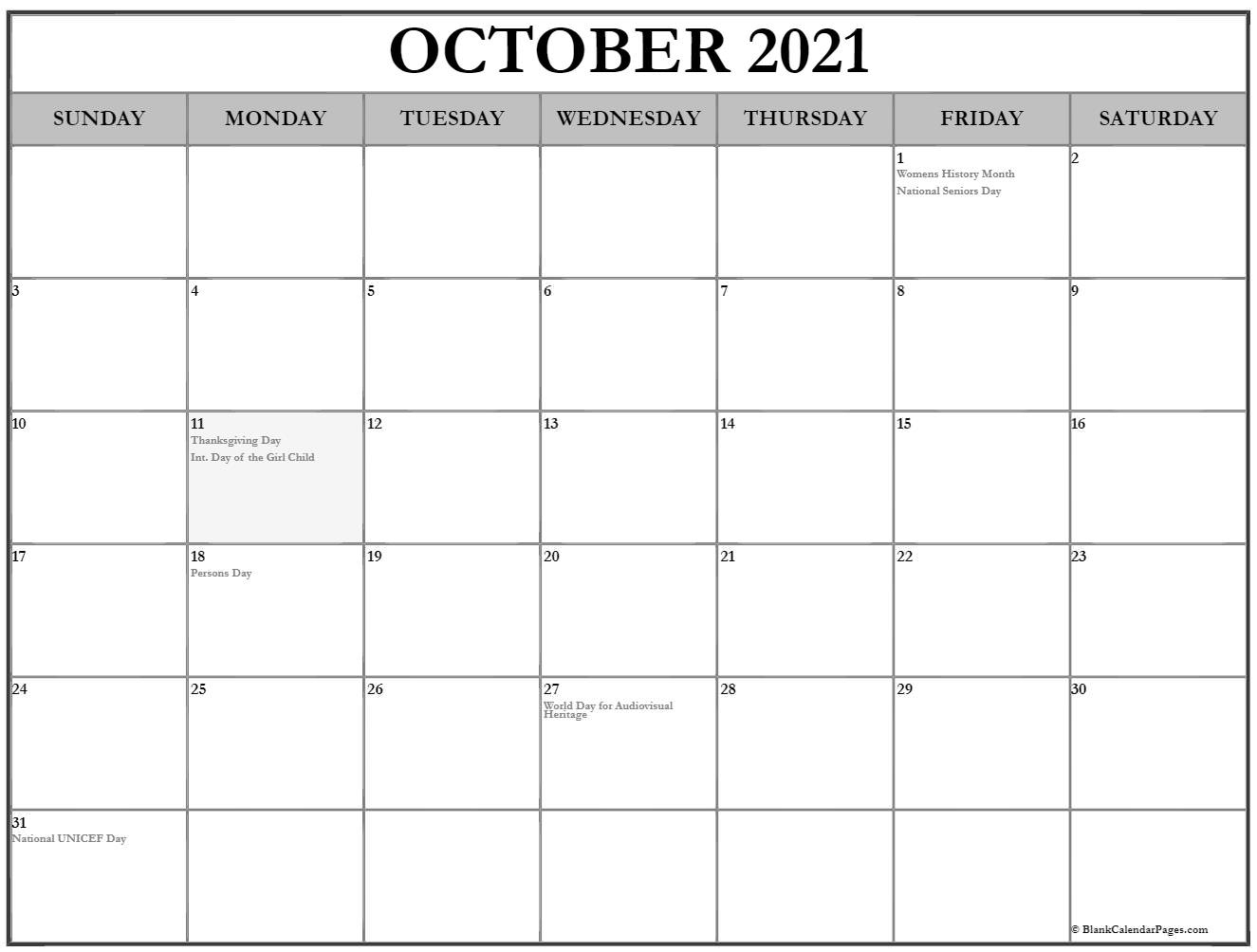 Collection Of October 2021 Calendars With Holidays