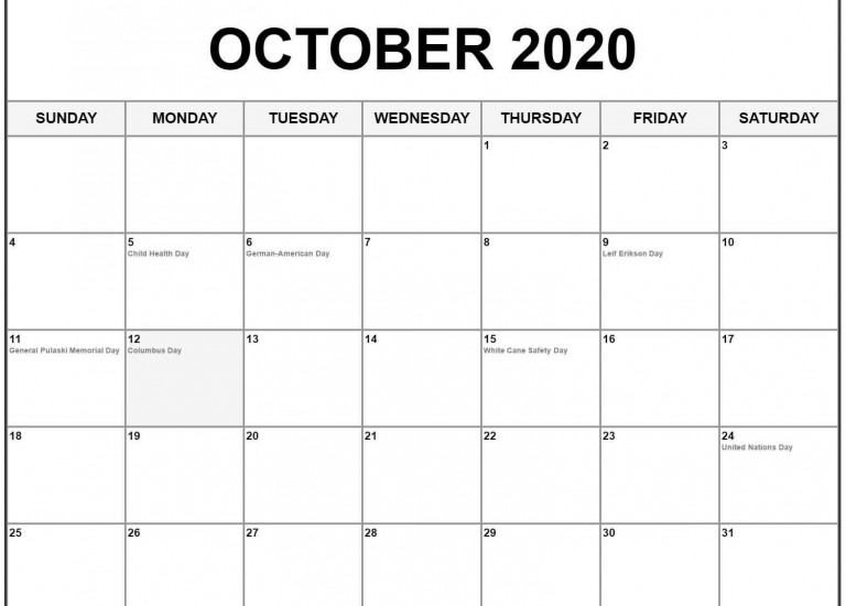 Free Blank Calendar For October 2020 PDF Monthly