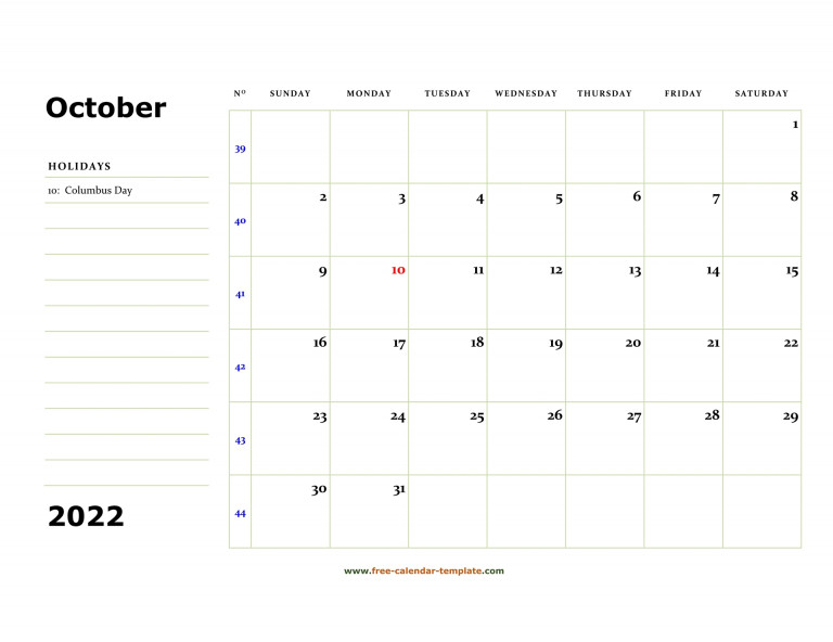 Printable October 2022 Calendar box And Lines For Notes