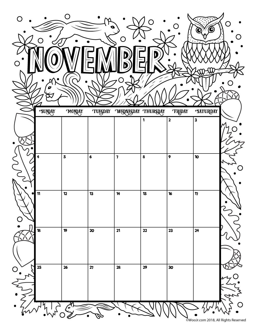 November 2018 Calendar Page Word Excel Template Coloring